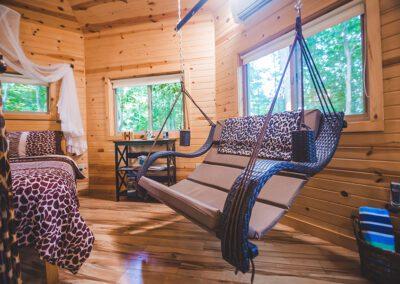 Safari Treehouse interior swinging lounger