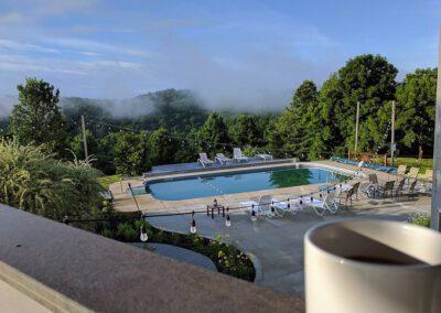 Blissful Ridge Lodge balcony view of the pool