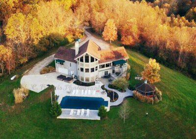 Blissful Ridge Lodge drone autumn view